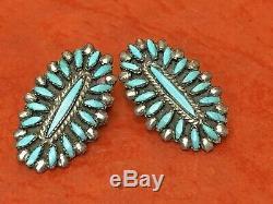 Vintage Sterling Silver Zuni Earrings Artist Signed Sleeping Beauty Turquoise