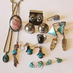 Vintage Sterling Turquoise Opal Black Star Sapphire 6 Earrings 2 Ring 2 Necklace