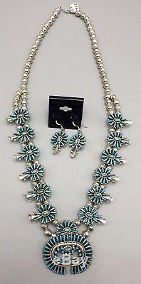 Vintage Turquoise & Sterling Silver Squash Blossom Necklace & Earring Set ZUNI