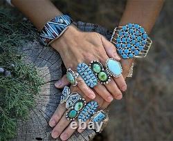 Vintage Women's Zuni Needle Point Earrings Turquoise Native American Jewelry