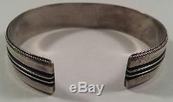 Vintage Yazzie Johnson Indian Sterling Silver Cuff Bracelet Earrings Set