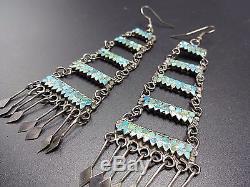 Vintage ZUNI Sterling Silver & Flat Inlay TURQUOISE Chandelier Dangle EARRINGS