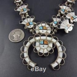 Vintage ZUNI Sterling Silver SUN FACE Inlay SQUASH BLOSSOM Necklace Earrings SET