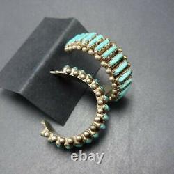 Vintage ZUNI Sterling Silver TURQUOISE Needlepoint Half Hoop EARRINGS Pierced