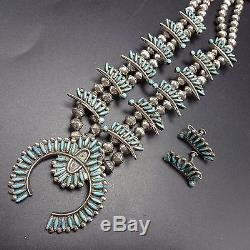 Vintage ZUNI Sterling Silver & Turquoise SQUASH BLOSSOM Necklace & Earrings SET