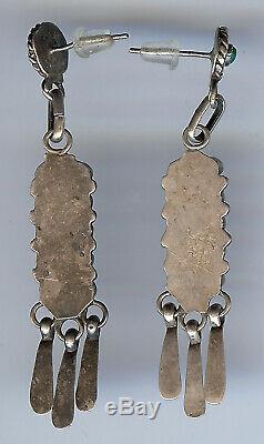 Vintage Zuni Indian Silver Green Multi Turquoise Pierced Long Dangle Earrings