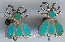 Vintage Zuni Indian Silver & Inlaid Turquoise Screw On Firefly Earrings