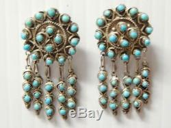 Vintage Zuni Indian Sterling Silver Needlepoint Turquoise Danger Earrings A+qlty