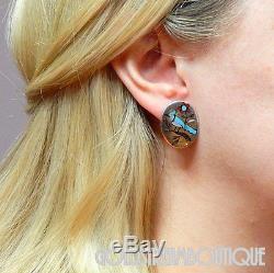 Vintage Zuni Signed Bh 925 Silver Gemstone Inlay Blue Jay Bird Oval Earrings