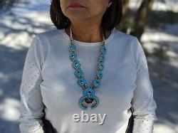 Vintage Zuni Squash Blossom Necklace Earrings Set Turquoise Signed Jewelry