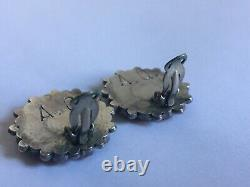 Vintage Zuni Sterling Silver & Red Coral Cluster Earrings by ALICE QUAM
