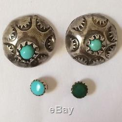 Vintage Zuni Turquoise Earrings Snake Eye Sterling Silver Stud Pierced Signed