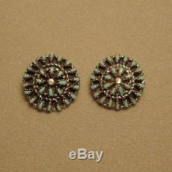 Vintage Zuni Turquoise Petit Point Earrings Sterling Silver Signed