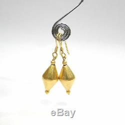 Vintage antique jewelry 20K Gold beads earring pair traditional indian