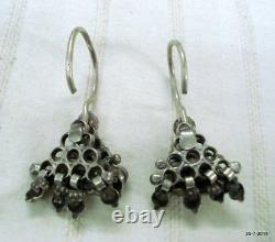 Vintage antique tribal old silver earrings traditional jewelry indian ethnic