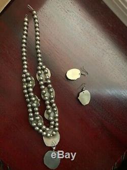 Vintage taxco Squash Blossom Necklace Earring Bracelet Set