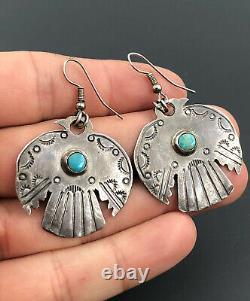 Vtg Fred Harvey Era Navajo Sterling Silver Turquoise Thunderbird Dangle Earrings