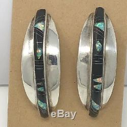 Vtg Inlay Onyx Fire Opal Earrings Zuni Sterling Silver Signed 14.1g NM Estate