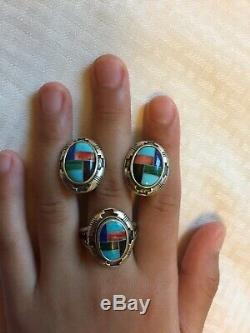 Vtg N. A. Zuni Sterling Silver Turquoise Coral Inlay Ring Earrings SetFree Ship