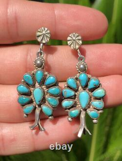 Vtg Navajo Sterling Silver Petit Point Cluster Turquoise Squash Blossom Earrings