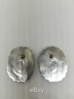 Vtg Zuni/ Navajo Oval Earrings-Sterling/Turquoise-MB-Mathilda Benally-66 stones