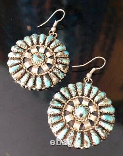 Vtg. Zuni Sterling Silver Turquoise Cluster Earrings Leander Nezzie Signed LN