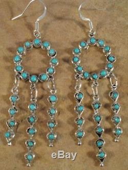 Waylon Johnson Zuni Sterling Silver & Turquoise Earrings