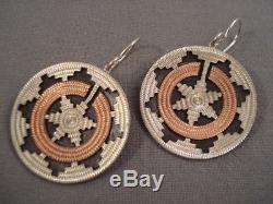 Wedding Basket Vintage Navajo Sterling Silver Earrings Old Pawn