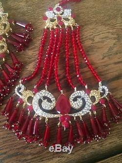 Wedding jewelry Indian Jewellery Necklace Earrings Tika Bridal Set