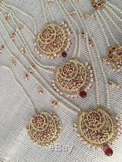 Wedding jewelry Indian Necklace Earrings Tika Set Pearls Ruby Bridal Rani Haar