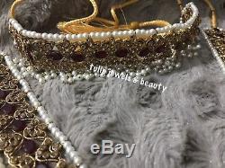 Wedding jewelry Indian/Pakistani Rani haar, Gulluband, Earrings, tikka & Jhummar