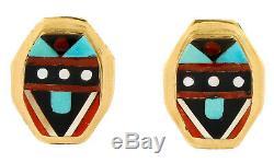 Women's Handmade Zuni Indian Wayne Quam Inlaid Gemstone 14k Gold Earrings