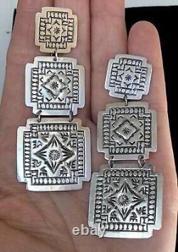 XL Large Long Navajo Sterling Silver Earrings Harold Joe