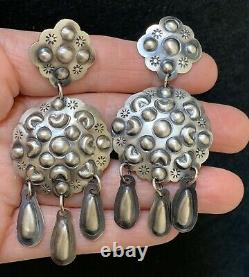 XL Large Navajo Sterling Silver Concho Dangle Charm Earrings Tim Yazzie