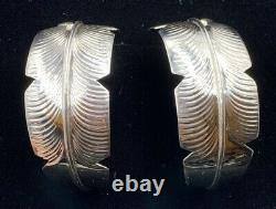XL Large Navajo Sterling Silver Feather Hoop Earrings Chester Charley