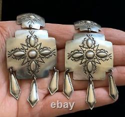 XL Large Navajo Sterling Silver Santa Fe Cross Earrings Tim Yazzie