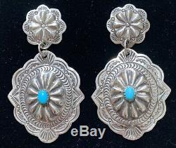 XL Large Navajo Sterling Silver Turquoise Concho Earrings Jenny Blackgoat