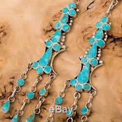 XLong Zuni Turquoise Earrings Sterling Silver Vivianita Booqua Dishta Style