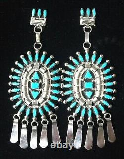 XXL Large Zuni Sterling Silver Turquoise Petite Point Earrings Evonne Hustito