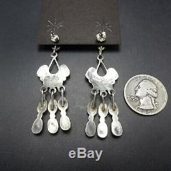 ZUNI Sterling Silver CORAL Cluster Dangle Chandelier EARRINGS Claudine Penketewa