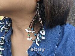 Zuni Animal Fetish Necklace Earrings Set Native American Hand Strung Heishi