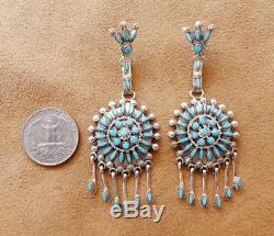 Zuni Chavez Sterling Silver Petit Point Turquoise Cluster Large Earrings