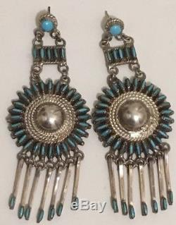 Zuni Concho Petit Point Turquoise Chandelier Post Earrings Sterling Silver 3