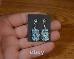 Zuni Earrings Dishta Style Turquoise Sunface Post dangle Studs Maxine Soseeah