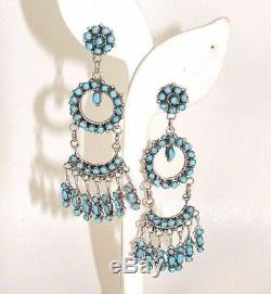 Zuni Earrings Native American Turquoise/Sterling Silver Dangle P. LAATE