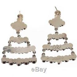Zuni FIRE OPAL Earrings Sterling Silver Old Pawn Style LONG Dangle Chandelier