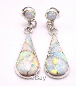 Zuni Handmade Opal Inlay Earrings Set In Sterling Silver- Shareldine Lonjose