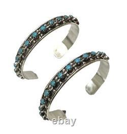 Zuni Handmade Petit Point hoop Turquoise Sterling Silver Earrings Joanne C