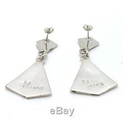 Zuni Handmade Sterling Silver MultiStone Inlay Earrings Sanford Edaakie