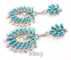 Zuni Handmade Sterling Silver Turquoise Needlepoint Post Earrings Leekity